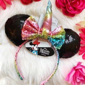 Minnie Mouse Ears Sequin Headband w/ Unicorn Horn